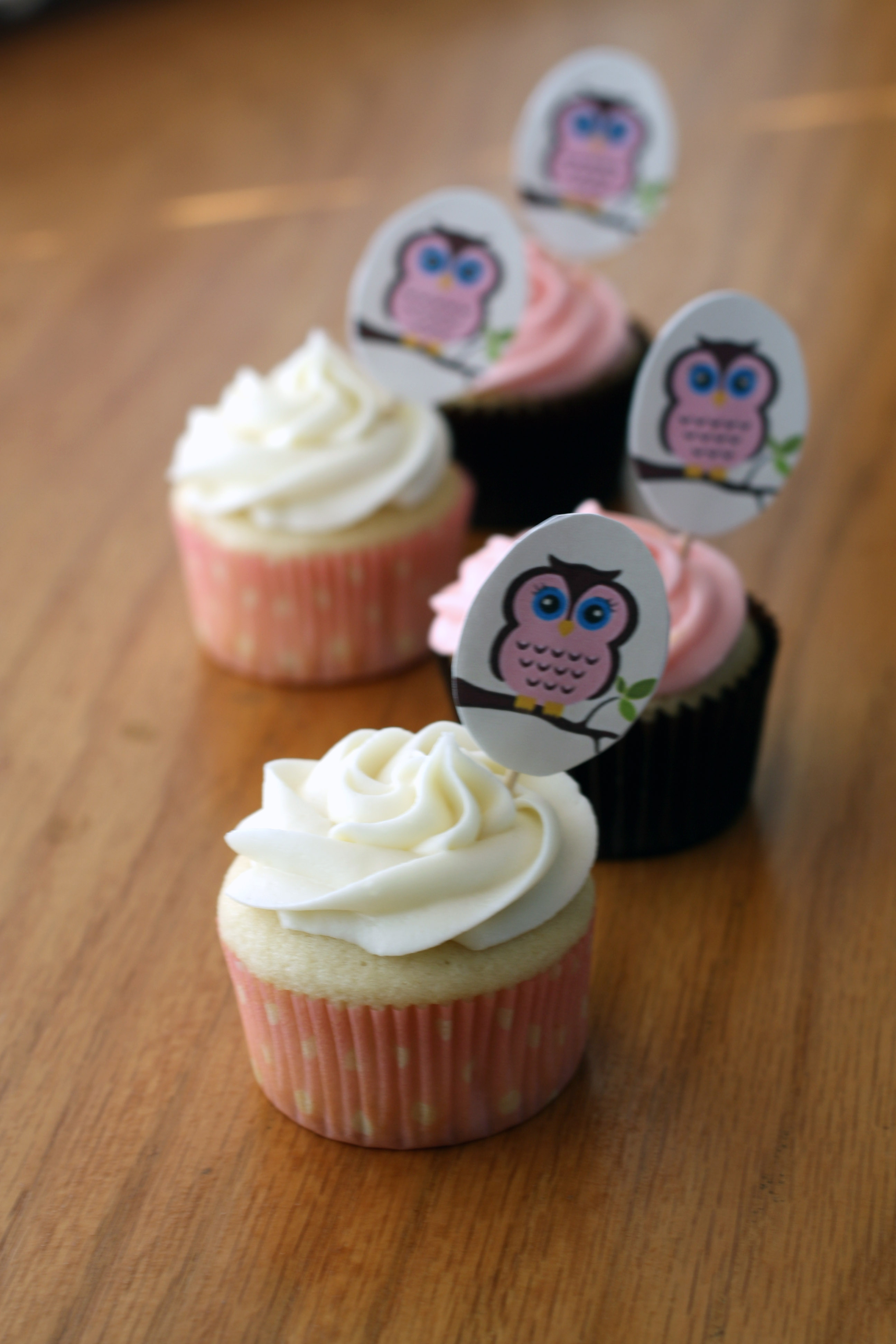 Owl Baby Shower cupcakes Peace Love and French Fries